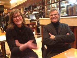 Louise Allavoine & Stéphane Compoint, après la projection des photos de l'un et du diaporama sonore de la seconde à Notre-Dame de Paris, devant plus de 800 personnes, jeudi 6 décembre 2012.